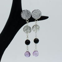 Tourmalinated Quartz, Pink Amethyst, Onyx, Hammered Silver Circle Drop Earrings