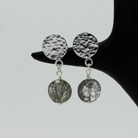 Hammered Sterling Silver Circle Tourmalinated Quartz Drop Earrings