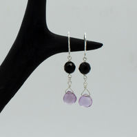 Sterling Silver Onyx and Pink Amethyst Drop Earrings