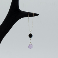 Onyx and Pink Amethyst Sterling Silver Pendant Necklace