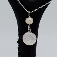 Pearl and Sterling Silver Circle Pendant Necklace
