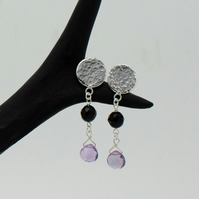Hammered Sterling Silver, Onyx, Pink Amethyst Circle Drop Earrings