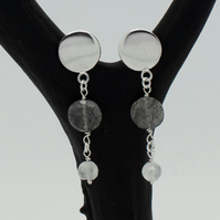 Sterling Silver, Tourmalinated Quartz and Moonstone Circle Drop Earrings