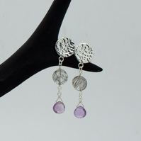Hammered Sterling Silver, Tourmalinated Quartz and Amethyst Drop Earrings