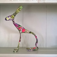 Hare sculpture decoupage floral art