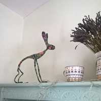 Large Hare sculpture, freestanding floral art decoration