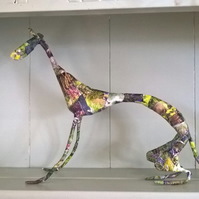 Greyhound, sighthound, whippet, floral sculpture