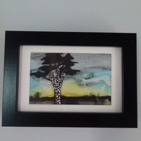 Framed original watercolour, 'pine at dusk' tree painting
