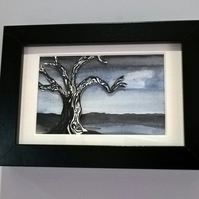 Original framed watercolour painting, 'moonlit' tree painting