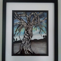 Original framed watercolour painting, 'last light' Tree painting