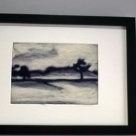 Framed needle felted landscape picture, misty morning