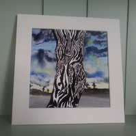 Original watercolour painting, mounted tree painting, 'standing proud'