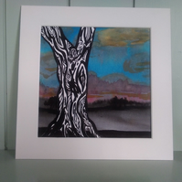 Original watercolour painting, mounted tree painting,