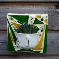 Mosaic wall art vintage tea cup planter