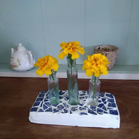 Antique glass bottle and vintage pottery 3 flower vase centrepiece