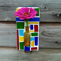 Stained glass mosaic wall art vintage glass bottle vase