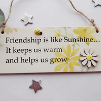 Friendship is like Sunshine wooden gift plaque