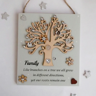 Family Wooden Gift Plaque with Decorated Wooden Tree