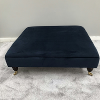 Navy Footstool -  Upholstered Coffee Table Warwick Fabric Plush Velvet Ottoman
