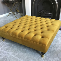 Chesterfield Footstool - Coffee Table Warwick Fabric Plush Velvet Ottoman