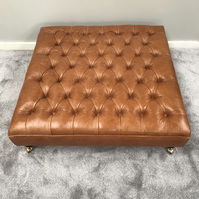 Extra Large Chesterfield Footstool -  Buttoned Coffee Table - Leather Ottoman
