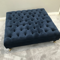 Navy Chesterfield Footstool - Coffee Table Warwick Fabric Velvet Ottoman Stool
