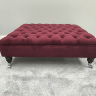 Chesterfield Footstool - Coffee Table - Warwick Fabric Plush Velvet  - Ottoman