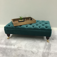 Chesterfield Ottoman - Coffee Table - Warwick Fabric Tumeric - Green Footstool