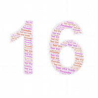 Personalised Picture Word Art number 16 birthday