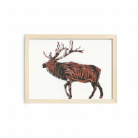 A4 wood cut Stag Print