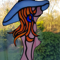 Stained glass Flame haired beauty Suncatcher Conservatory display