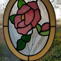 Stained Glass Oval Pink Rose Suncatcher