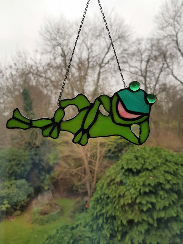Relaxing Frog Stained Glass Suncatcher conservatory window display