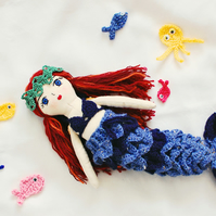 Handmade mermaid doll, Rag doll, Cloth doll, Birthday gift, Gift idea, Nursery