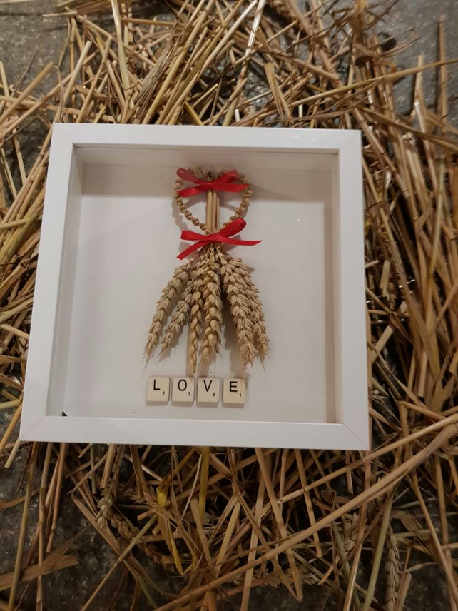 Corn Dolly heart in box frame