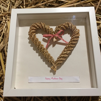 Mothers day corn dolly heart in box frame