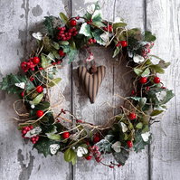 Christmas wreath, yule wreath, festive wreath, berry wreath, Christmas decor