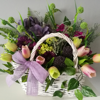 Artificial, silk flower wicker basket arrangement