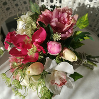 Handmade real looking peony, roses, orchids, mixed silk flower wedding bouquet