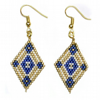 Blue & White Beaded Earrings