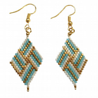 Turquoise & White Beaded Earrings