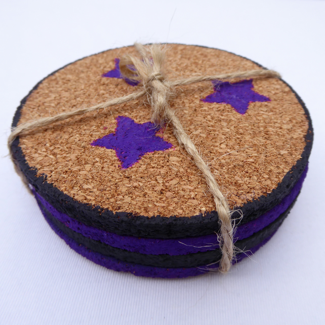 4 mauve and indigo acrylic painted cork coasters with star theme