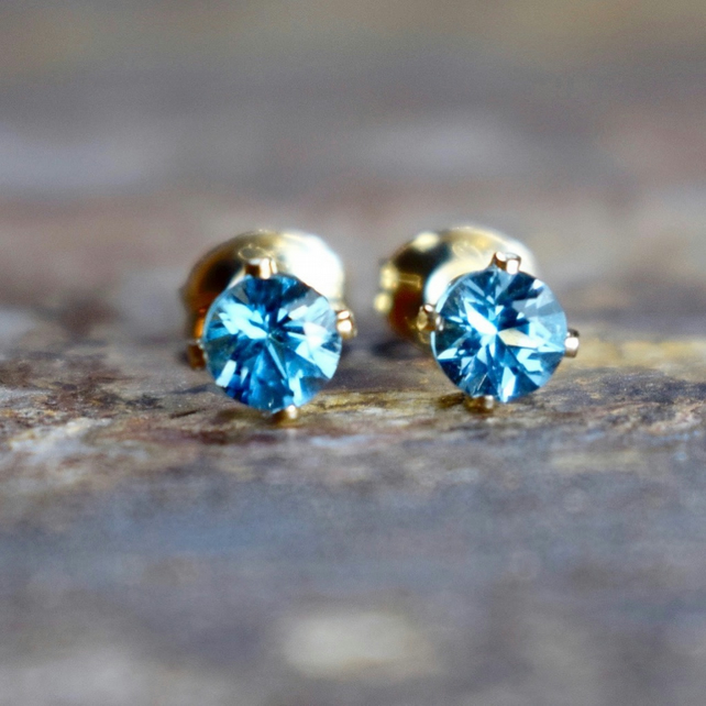 Swiss Blue Topaz & 14k Gold Filled Stud Earrings, Topaz Earrings, Gemstone Studs