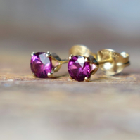 Rhodolite Garnet & 14k Gold Fill Stud Earrings, Purple Garnet Earrings