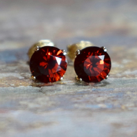 Mozambique Garnet & 14k Gold Fill Stud Earrings, 6mm Red Garnet Earrings