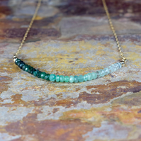 Ombre Emerald Necklace, Emerald & 14k Gold Fill Gemstone Necklace