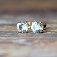 6mm Green Amethyst & 14k Gold Filled Claw Studs, Prasiolite Earrings