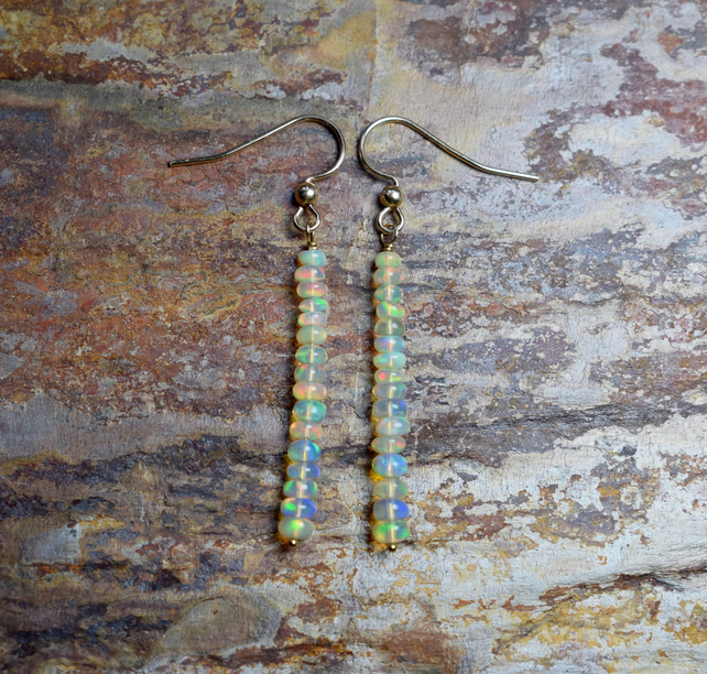 Opal Dangle Earrings, Long Ethiopian Opal & 14k Gold Filled Earrings