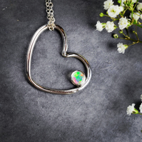 Sterling Silver Love Heart & Ethiopian Opal Pendant Necklace
