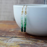 Emerald & 14k Gold Filled Dangle Earrings, May Birthstone